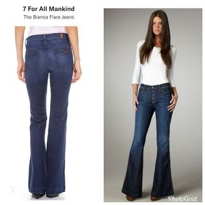 7 For All Mankind Jeans - 7 For All Mankind Button Fly Bianca Flare Jeans